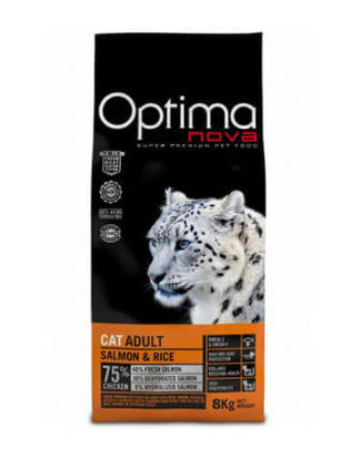 Ξηρά τροφή γάτας optimanova cat adult salmon rice